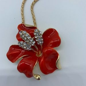 New red Bauhinia flower fashion necklace or brooch